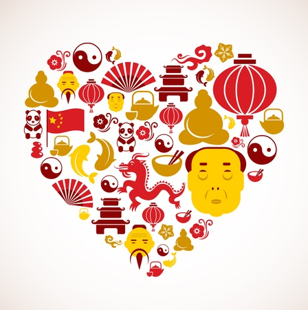 chinese tea cup: Heart shape with China icons Illustration