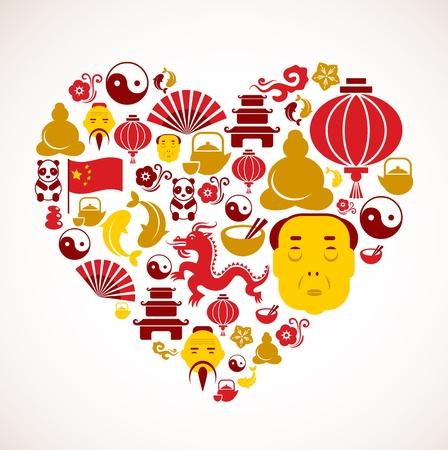 chinese tea cup: La forma del coraz�n con los iconos de China