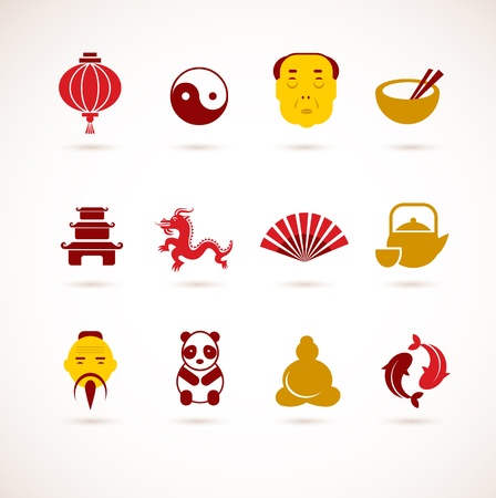 cantonese: collection of China icons Illustration