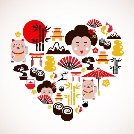 日本: 日本のアイコンとハート
