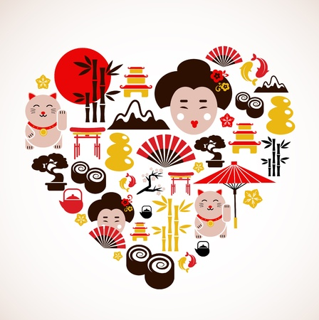 Heart shape with Japan icons Vector