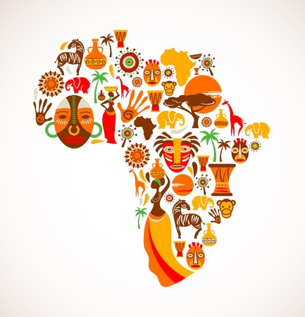 africa tree: Map of Africa with icons