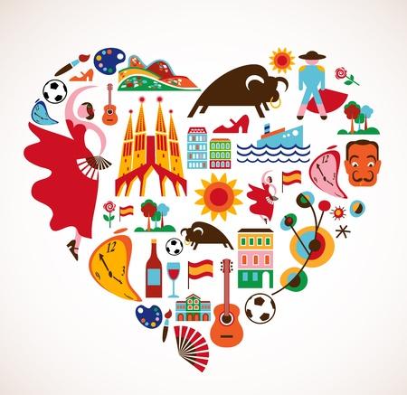 barcelone: Espagne Amour - coeur avec l'ensemble Illustration