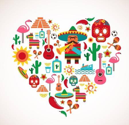 sombrero de charro: México amor - corazón con juego Vectores