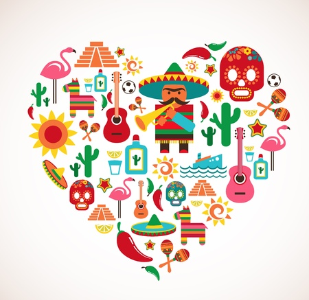 mexico map: Mexico love - heart with set  Illustration