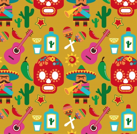 Mexico - pattern with icons Vector