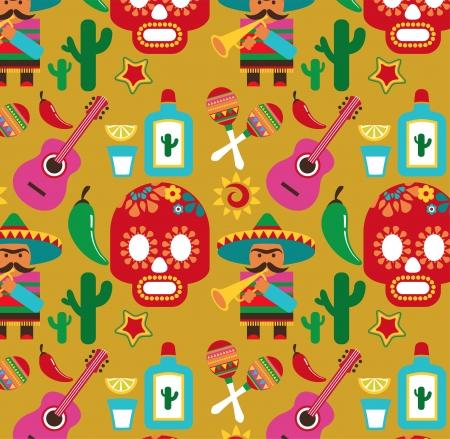 Mexique - modèle avec des icônes Vecteurs