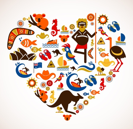Australia love - heart with set  Stock Vector - 15443783