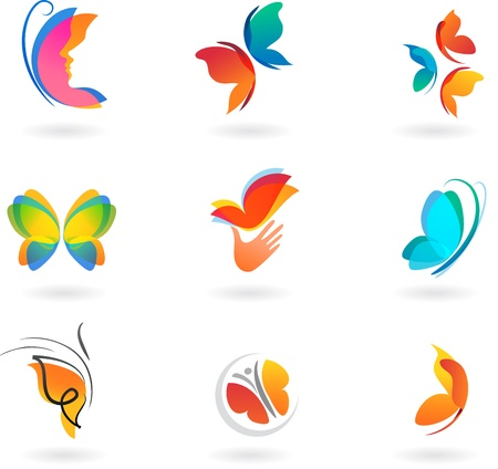 set of butterfly icons photo