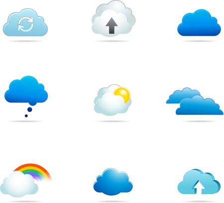 collection of cloud icons Stock Photo - 15444129