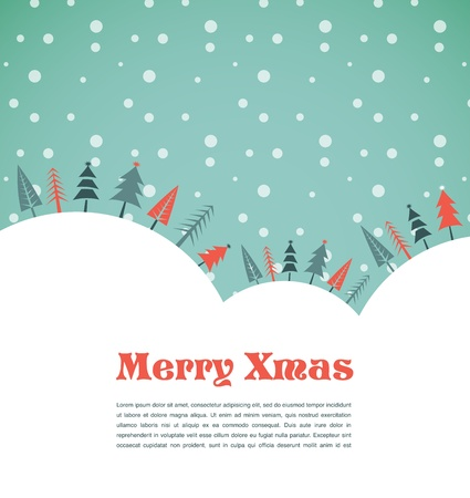 christmas symbols: Christmas background with homes and birds Illustration
