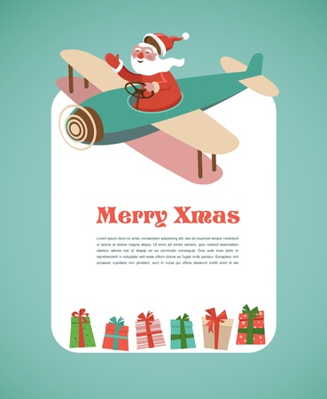Christmas background with retro airplane and Santa Stock Vector - 15569349