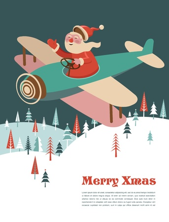 Christmas background with retro airplane and Santa Stock Vector - 15569350