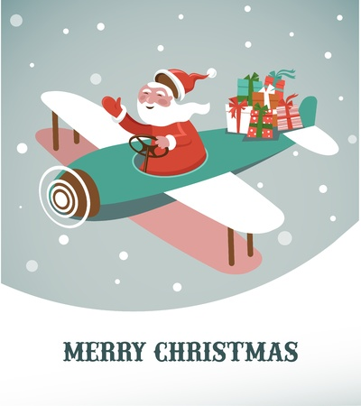Christmas background with retro airplane and Santa Stock Vector - 15569348