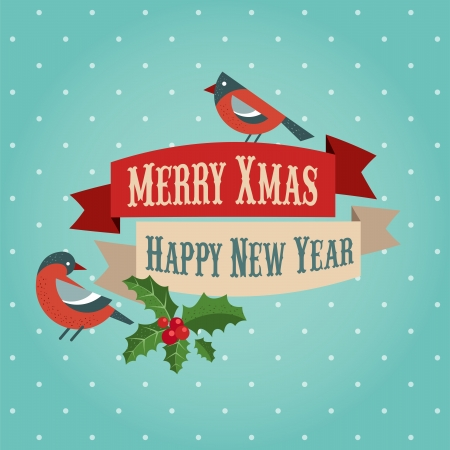 greeting card background: Christmas background with birds and holly leafs