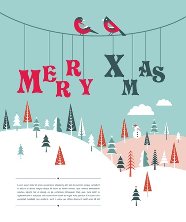 ashberry: Christmas background with homes and birds Illustration