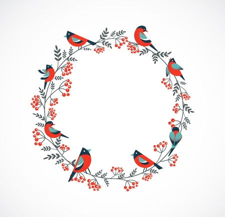 Christmas wreath with birds and ashberry Stock Vector - 15597041