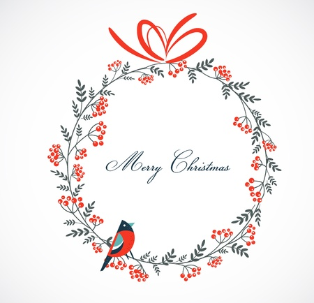 Christmas wreath with birds and ashberry Stock Vector - 15597039