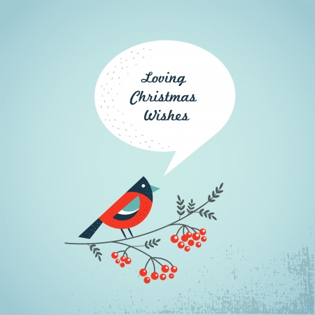 Christmas background with bird, ashberry and speech bubbles Vector
