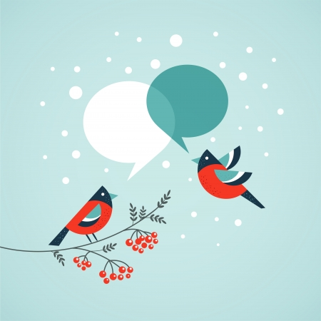 ashberry: Christmas tree with birds and speech bubbles  Stock Photo