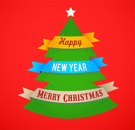 Christmas tree with ribbons and text space Vector