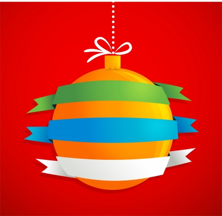 Christmas ball with ribbons and text space Stock Vector - 15597036