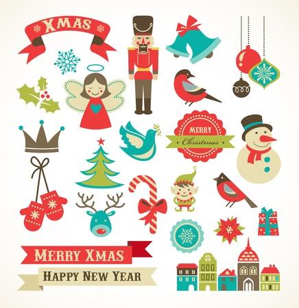 the mittens: Navidad retro iconos, elementos e ilustraciones