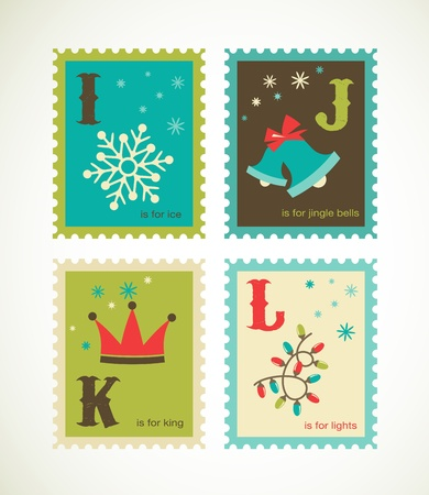 mitten: Christmas retro alphabet with cute icons