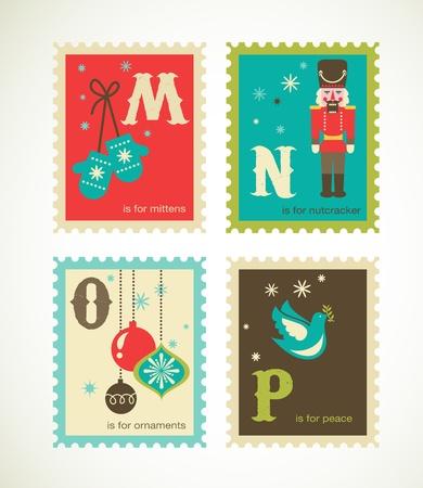 Christmas retro alphabet with cute icons Stock Vector - 15731789