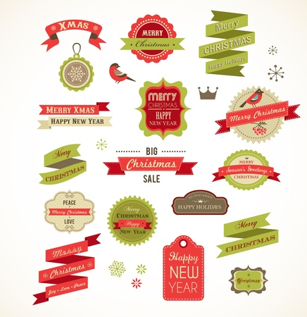 christmas tree set: Christmas vintage labels, elements and illustrations