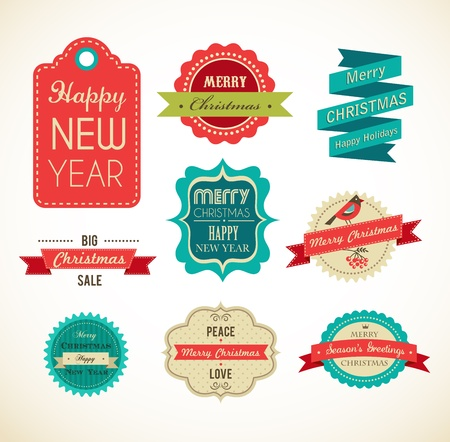 Christmas vintage labels, elements and illustrations Vector