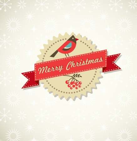 christmas ribbon: Christmas vintage background with bird, sticker and ribbon