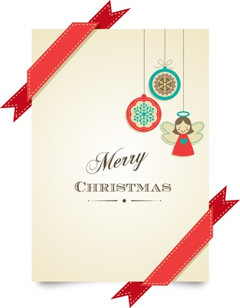 Christmas vintage greeting card with ornaments and ribbons Vector