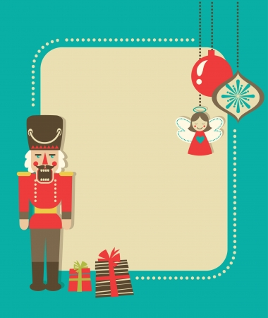 Christmas vintage greeting card with nutcracker and ornaments Vector