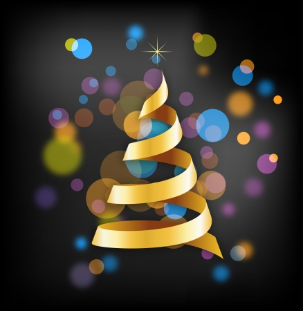 Elegant golden Christmas background with tree and lights Stock Vector - 16001681