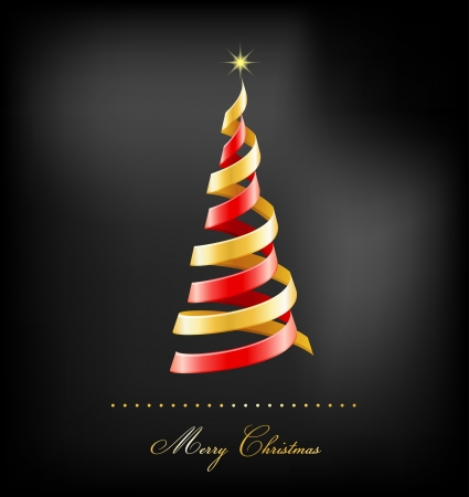 Elegant golden Christmas background with tree and lights Stock Vector - 16001679
