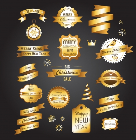 hollies: Christmas gold vintage labels, elements and illustrations Illustration