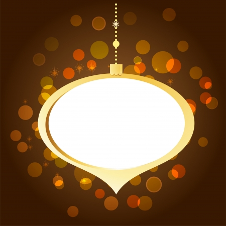 Elegant golden Christmas background with lights and xmas ball Vector