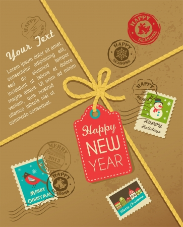 Christmas gift with vintage postage stamps Stock Photo - 16160567