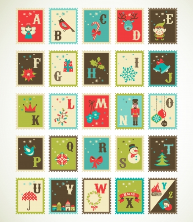 Christmas retro alphabet with cute  xmas icons