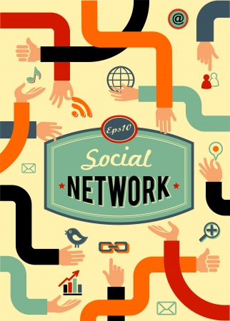 social network, media and communication in vintage style Stock Vector - 17632628