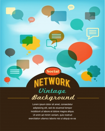 social network, media and communication in vintage style Vector