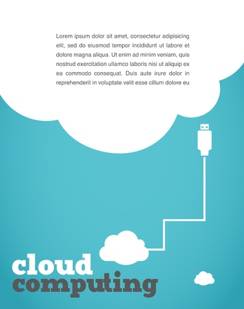 community cloud: vintage style cloud computing poster Illustration