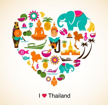 thai: Thailandia amore - cuore con le icone thai e simboli Vettoriali