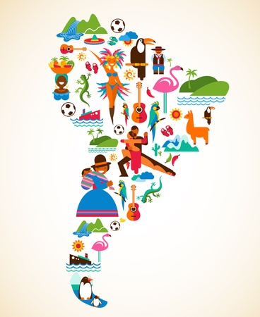 South America love - concept illustration with vector icons Stock Vector - 17632634