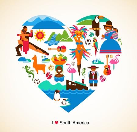 amerique du sud: Am�rique du Sud amour - concept illustration avec des ic�nes vectorielles