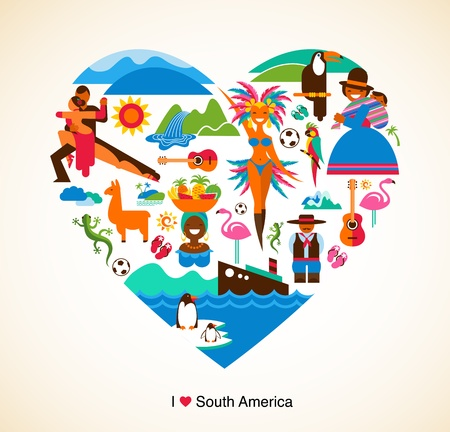 South America love - concept illustration with vector icons Vector