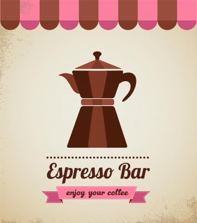to go cup: Espresso bar vinatge poster with macchinetta Illustration