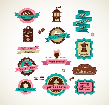 bakery shop: Espresso bar vinatge poster with makineta