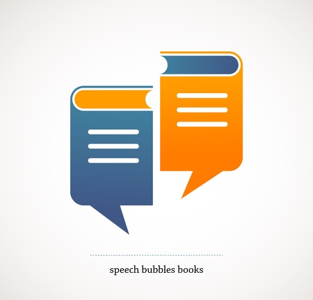 conversaciones: libro habla de diseño - vector concepto con las burbujas del discurso